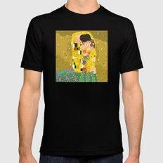 The Kiss (Lovers) by Gustav Klimt  Mens Fitted Tee Black MEDIUM