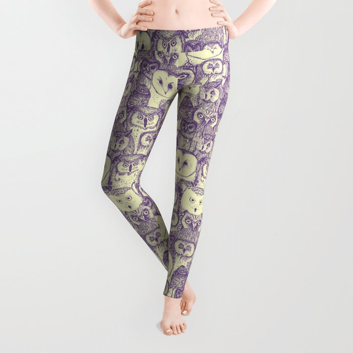 just owls purple cream Leggings