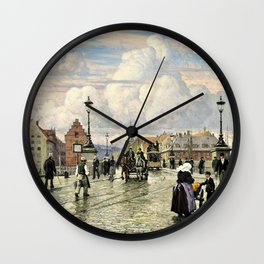 Paul Gustav Fischer - A Scene From Knippelsbro, Bridge In Copenhagen, When The Artist Was A Boy Wall Clock