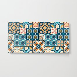 Traditional ornate portuguese decorative color tiles azulejos. Abstract background. Vintage hand drawn illustration, typical portuguese tiles, Ceramic tiles. Seamless pattern.  Metal Print