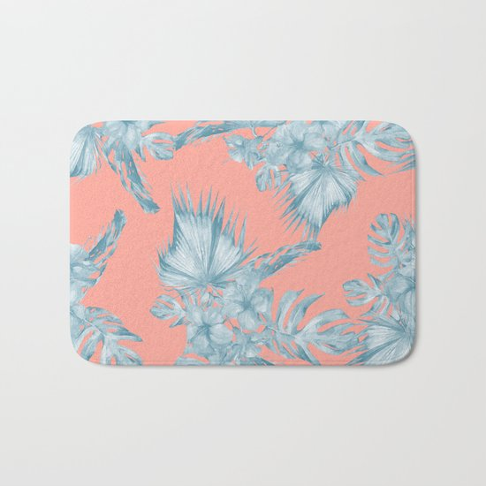 Dreaming of Hawaii Pale Teal Blue on Coral Pink Bath Mat
