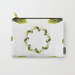 Watercolor green leaf wreath pattern design Carry-All Pouch