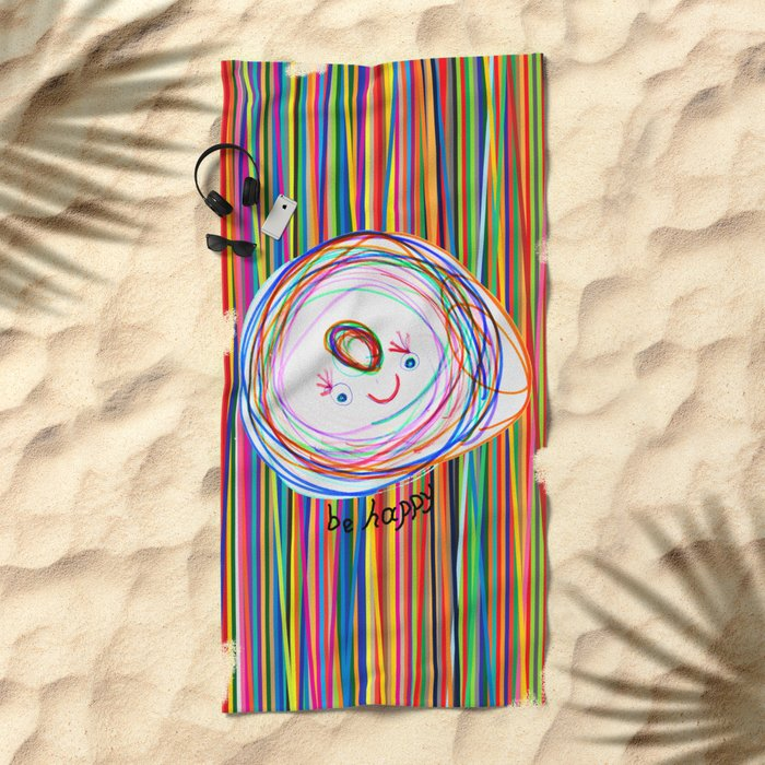 Be Happy | Smile | Stay Child | Kids Painting Beach Towel