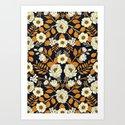 Navy Blue, Orange, Cream, Gold & White Floral Pattern by somecallmebeth