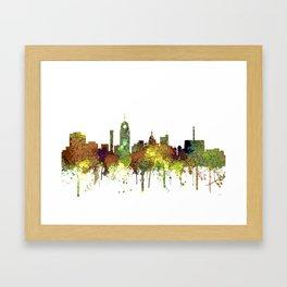 Lansing, Michigan Skyline - Safari Buff Framed Art Print