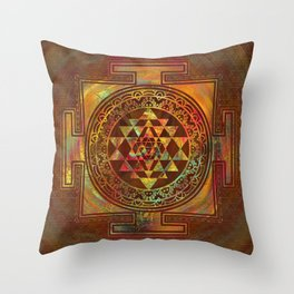 Colorful Sri Yantra  / Sri Chakra Throw Pillow