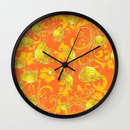 AWESOME CUMIN ORANGE & YELLOW ROSE SCROLLS  ART Wall Clock
