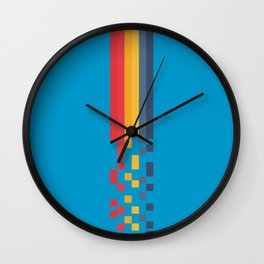 Classic 80s Video Game Style Retro Stripes Pixel Drops - Akiko Wall Clock