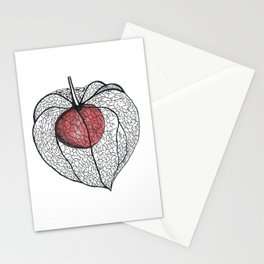 Physalis. Graphic flower Stationery Cards