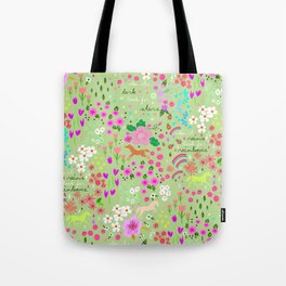 """let there be rainbows, flowers and jumping horses"" pattern Tote Bag"