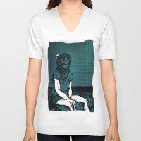 monkey V-neck T-shirts featuring Monkey by Merwizaur
