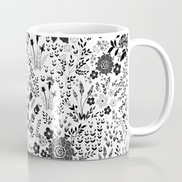 Star Sapphire Floral Celebration Black on White Coffee Mug
