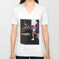 mario kart V-neck T-shirts featuring Retro Mario Kart by Woah Jonny