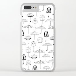 Happy Umbrellas Pattern - white Clear iPhone Case