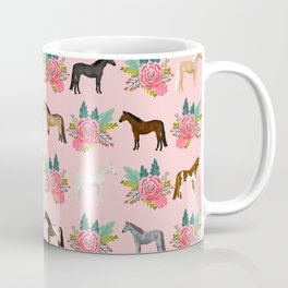 Horse Floral - florals, pink, flower, florals, bloom, horses, cowgirl, bedding, decor, cute Coffee Mug