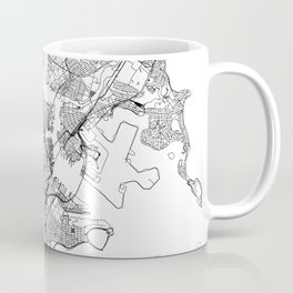 Boston White Map Coffee Mug