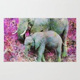 Elephant art mother child pink floral Rug