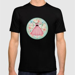 Roses, Bluebirds And The Perfect Polka Dot Party Dress T-shirt