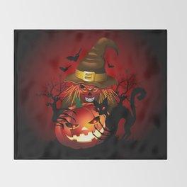 Skull Witch Creepy Halloween Throw Blanket