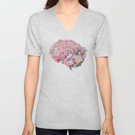 Floral Anatomy Brain Unisex V-Neck
