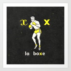 Black Yellow Vintage Boxing French Illustration Art Print