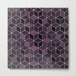 Shades Of Purple & Pink Cubes Pattern Metal Print
