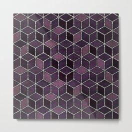 Shades Of Purple & Pink Cubes Pattern Metal Print