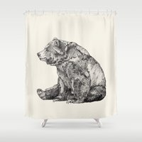lake Shower Curtains featuring Bear // Graphite by Sandra Dieckmann