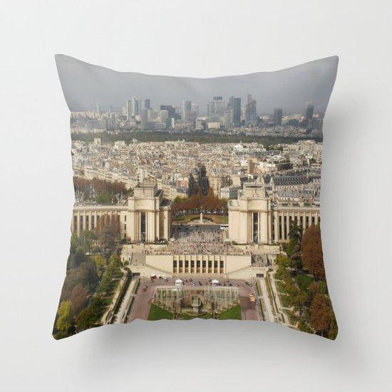 Aerial Paris Throw Pillow
