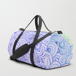 1970's Style Waves And Clouds Drawing Duffle Bag