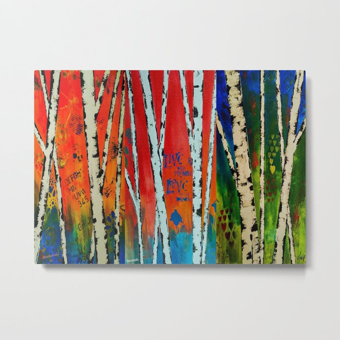 Birch Tree Stitch Metal Print