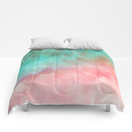 Pink and Green Watercolor Art Comforters