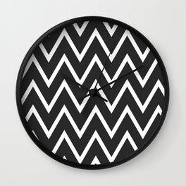 ᚖ NOIR SERIES ᚖ  Chevron Black & White pattern Wall Clock