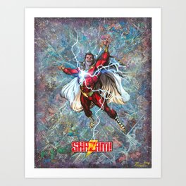 Shazam Comic Collage Superhero Wall Art Comic Book Art Art Print