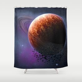 Planet In The Space Shower Curtain