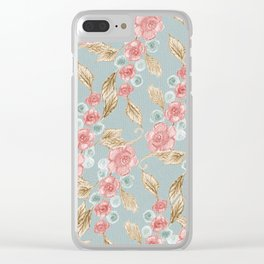 Floral Patterns x Dusty Blue Clear iPhone Case