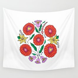 Hungarian embroidery inspired pattern white Wall Tapestry