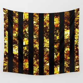 Golden Stripes - Abstract, black and gold, metallic, textured, stripy pattern Wall Tapestry