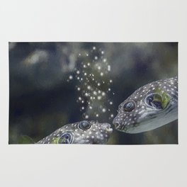 White-Spotted Puffer Fish Kissing - Painting Rug