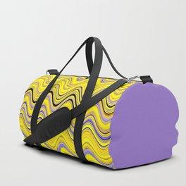yellow purple blue wavy striped pattern Duffle Bag