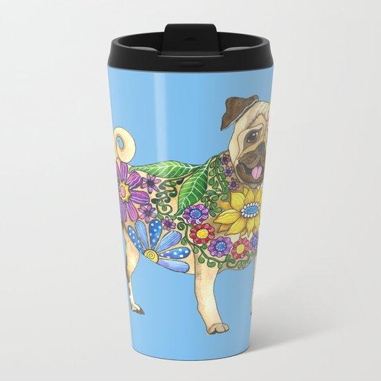 The Pugster (Blue) Metal Travel Mug