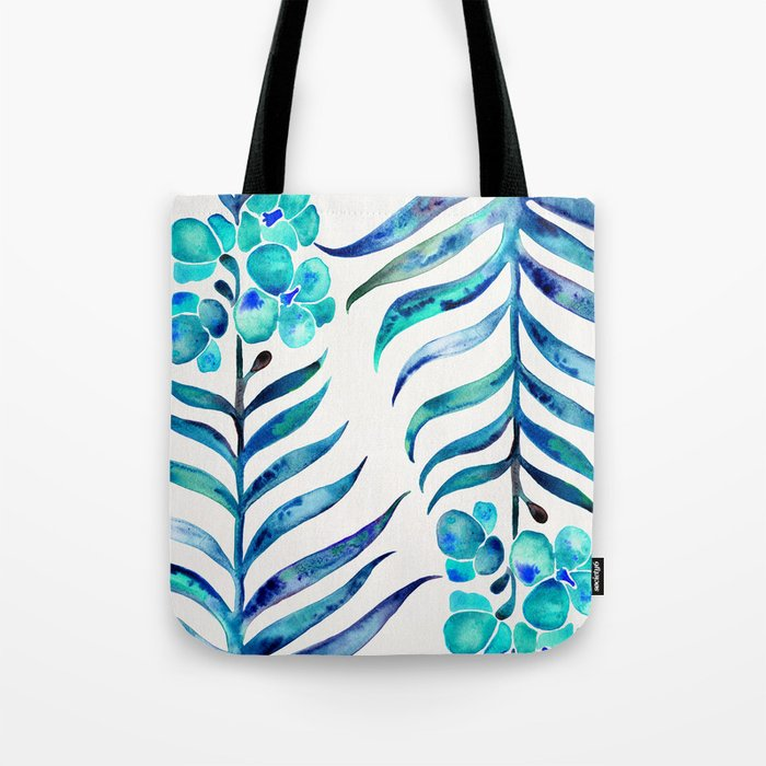 Blooming Orchid – Navy & Turquoise Palette Tote Bag