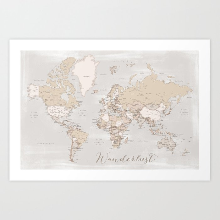 Wanderlust rustic world map with cities Art Print