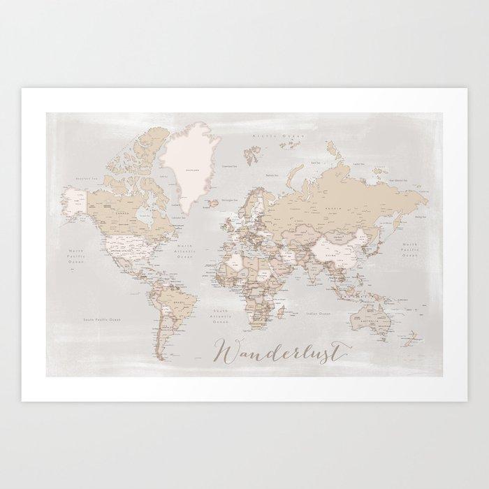Wanderlust Rustic World Map With Cities Art Print By Blursbyaishop