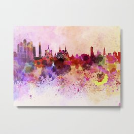 Moscow skyline in watercolor background Metal Print