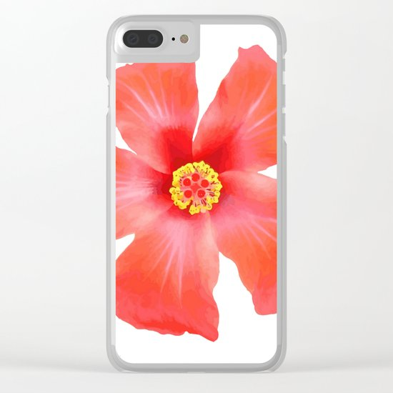 Tropical Hibiscus Flower Vector Clear iPhone Case