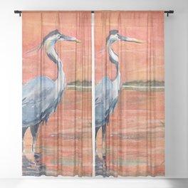 Great Blue Heron in Marsh Sheer Curtain