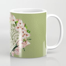 Vintage style Music Notes flowers on green leather Coffee Mug