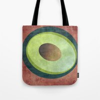 avocado Tote Bags featuring Avocado by Red Coat Studio Design