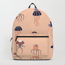 Purple and orange jellyfish in a seamless pattern design Backpack